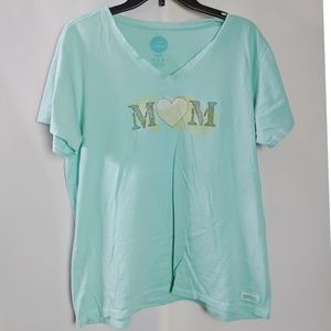 Life is Good Turquoise Mom Heart T Shirt Sz XL